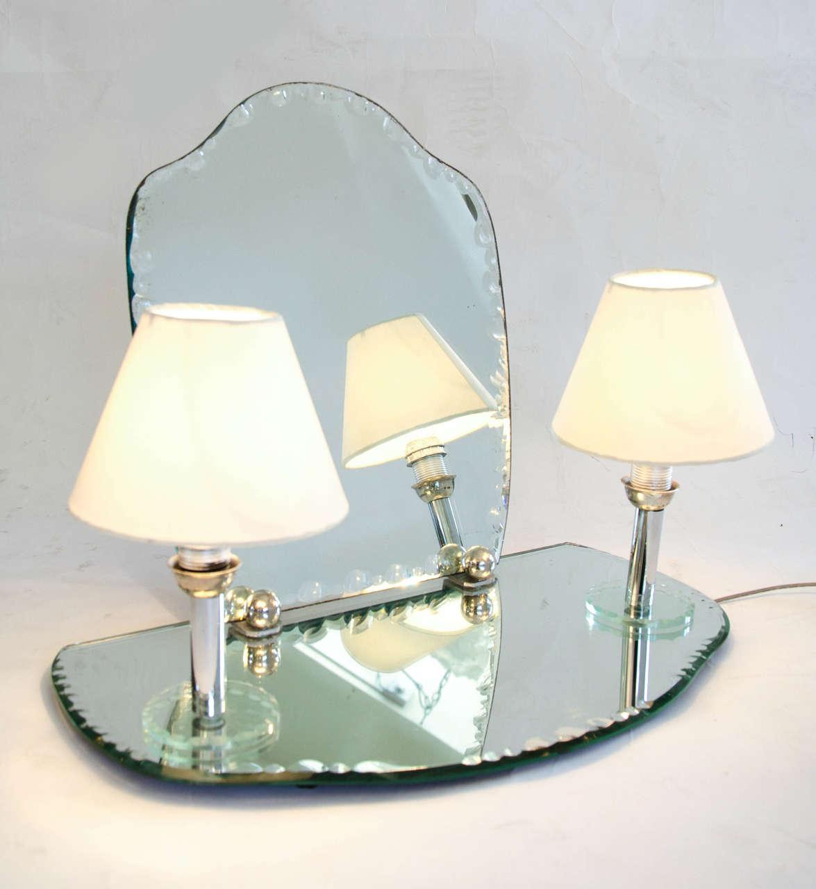 1950s dressing table mirror with integral lights at 1stdibs. Black Bedroom Furniture Sets. Home Design Ideas