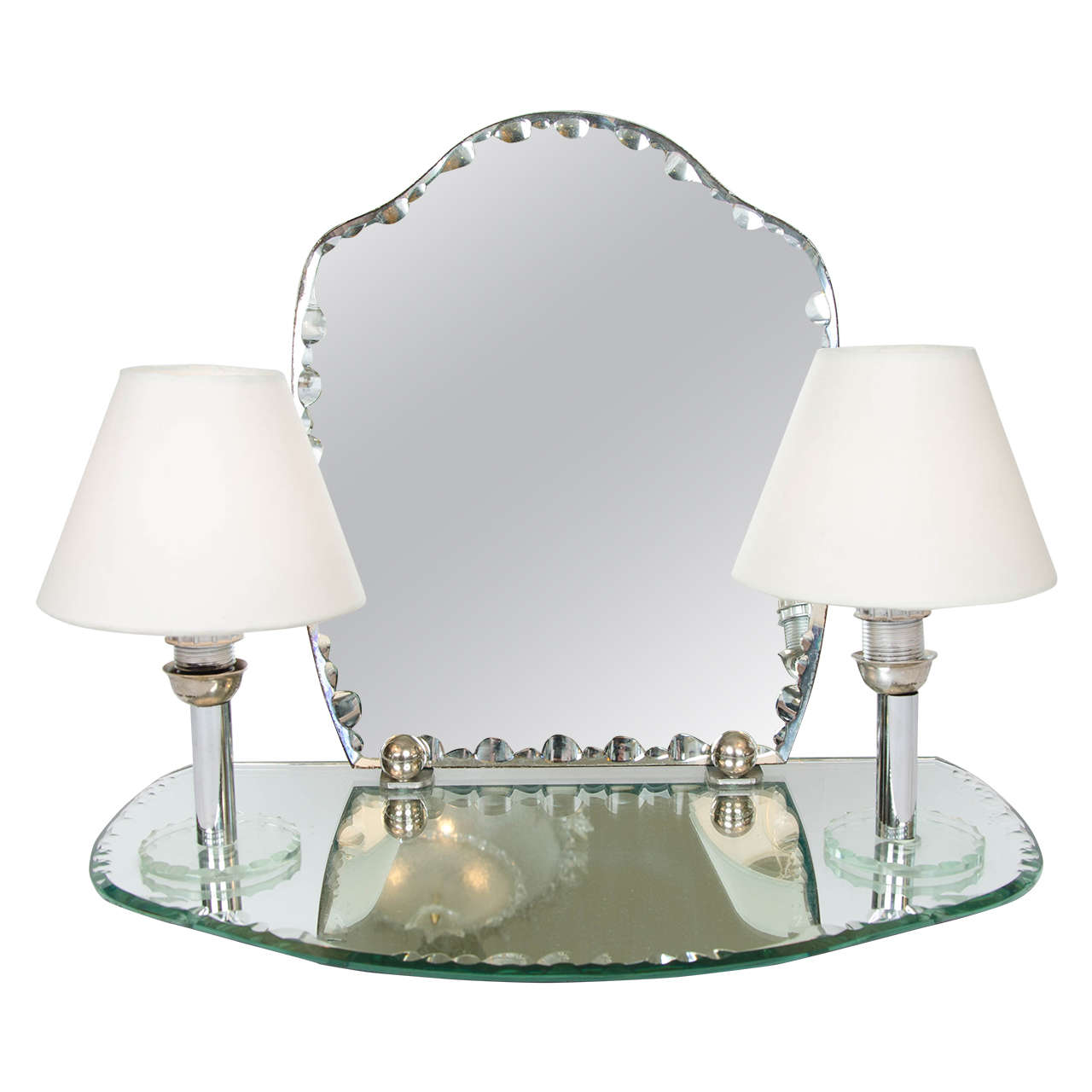 1950s dressing table mirror with integral lights at 1stdibs for Dressing table with lights