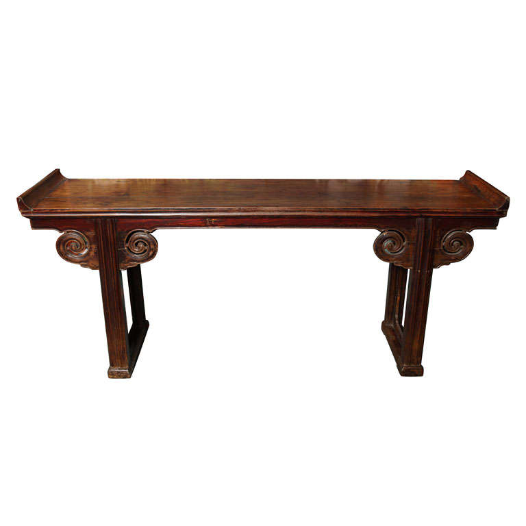 Mid 19th Century Chinese Carved Elmwood Console Table with Original Finish