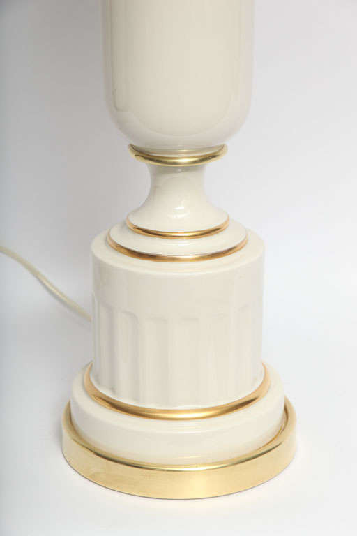 Art Deco Table Lamps Pair Classical Modern porcelain urns 1930's For Sale
