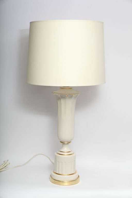 A pair of classical modern porcelain urn table lamps. New sockets and rewired Shades not included