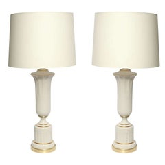 Table Lamps Pair Classical Modern porcelain urns 1930's