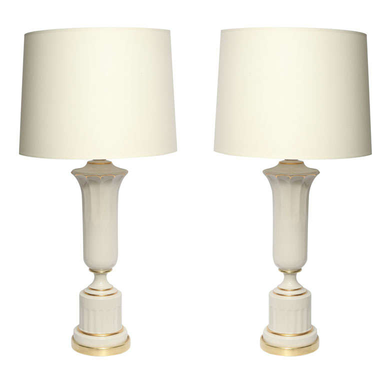 Table Lamps Pair Classical Modern porcelain urns 1930's For Sale