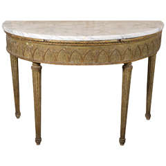 18th century Italian console with white marble top
