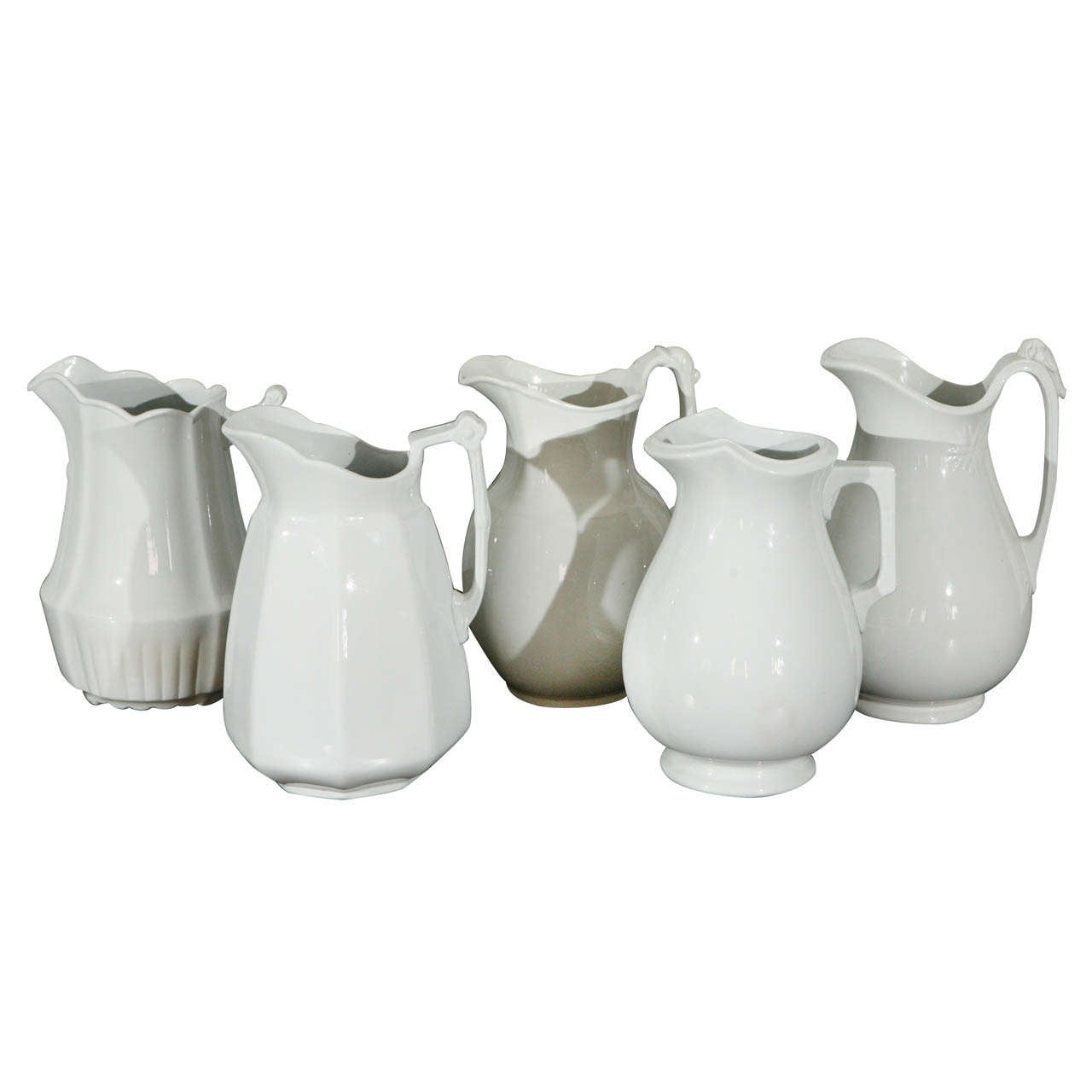 19th Century English White Ironstone Pitchers
