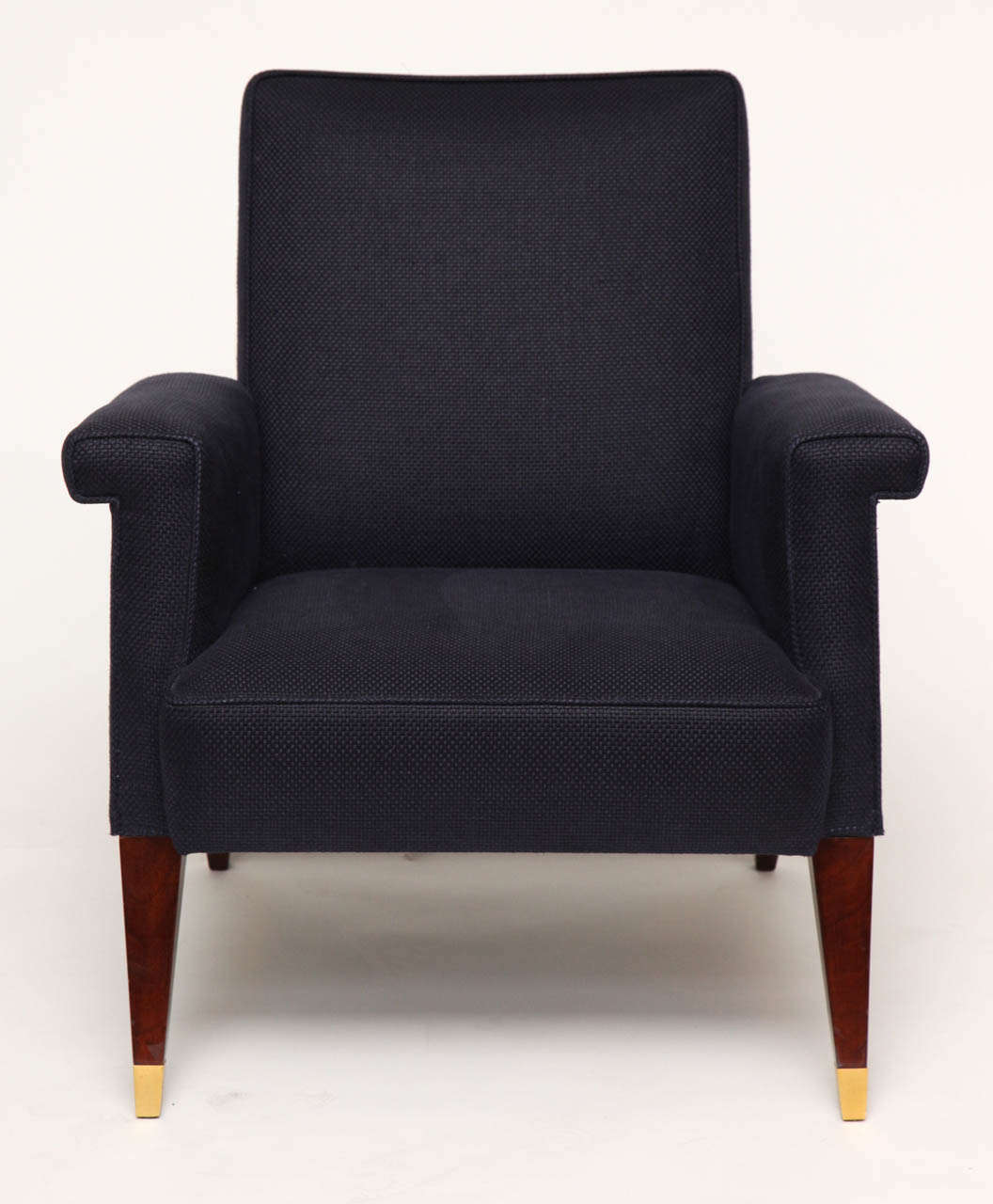 Armchair by Jules Leleu with mahogany legs and gilt bronze sabots.  Provenance: Commissioned by Mr. Rosset