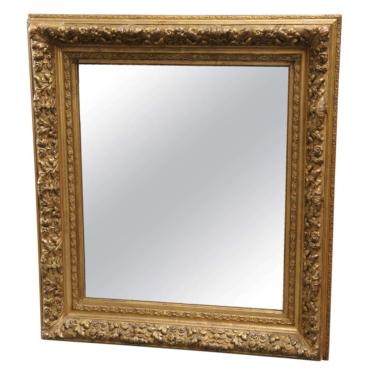 French Gilt Wood Mirror For Sale