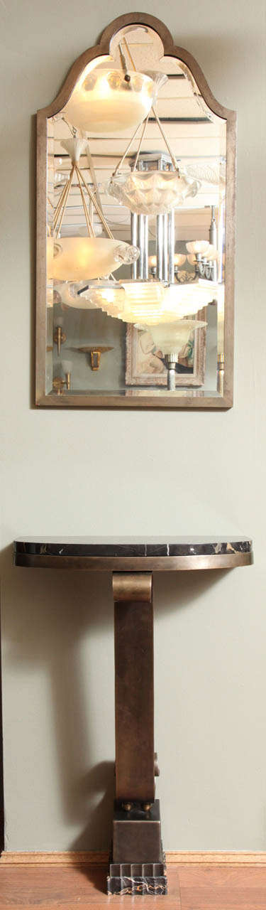 French Art Deco Console with Mirror Attributed to Raymond Subes In Good Condition For Sale In Bridgewater, CT