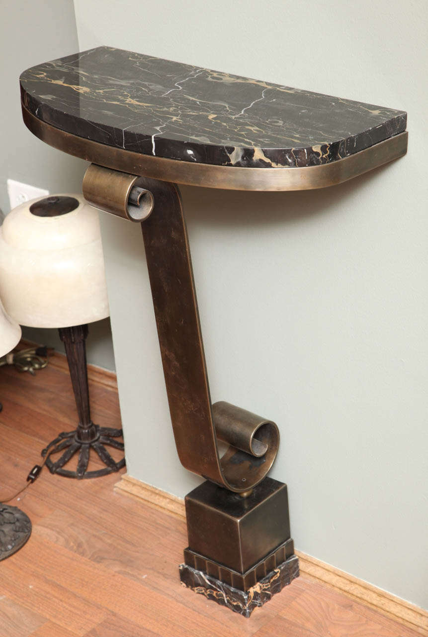 French Art Deco Console with Mirror Attributed to Raymond Subes For Sale 5