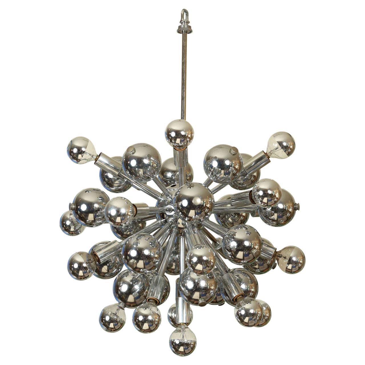 Impressive german chrome sputnik chandelier with metal for Sputnik chandelier