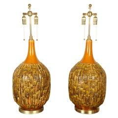 Pair of Large Stylish Mid-Century Ceramic Lamps