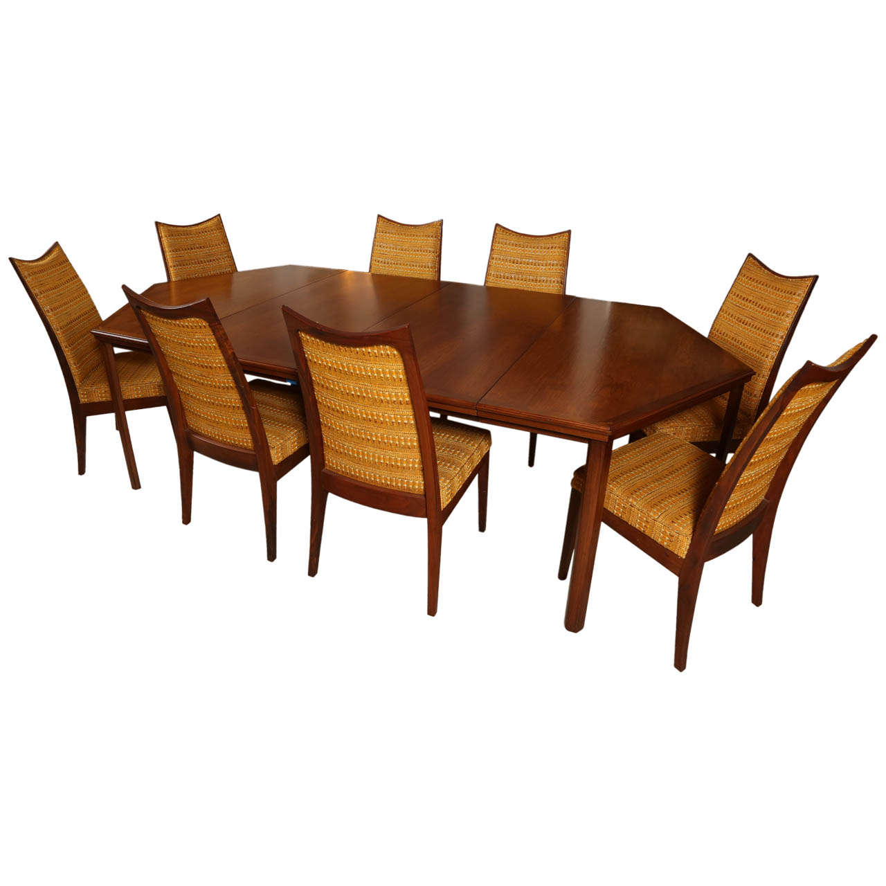 John kapel custom hexagonal dining table and set of eight for Custom kitchen tables and chairs