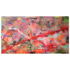 1980s Graffiti Painting on Metal Signed A1