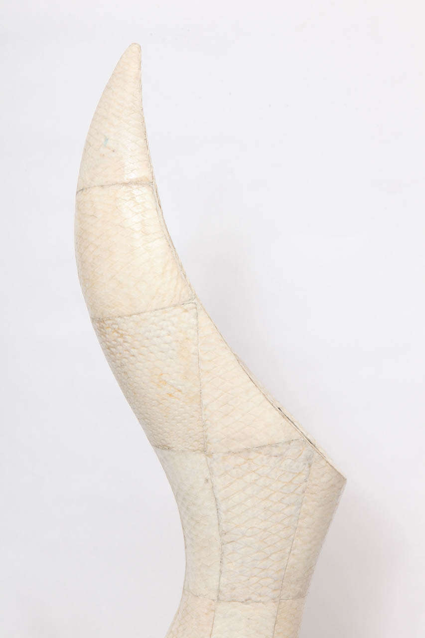 American 1970s Sculptural Vase of Snakeskin For Sale