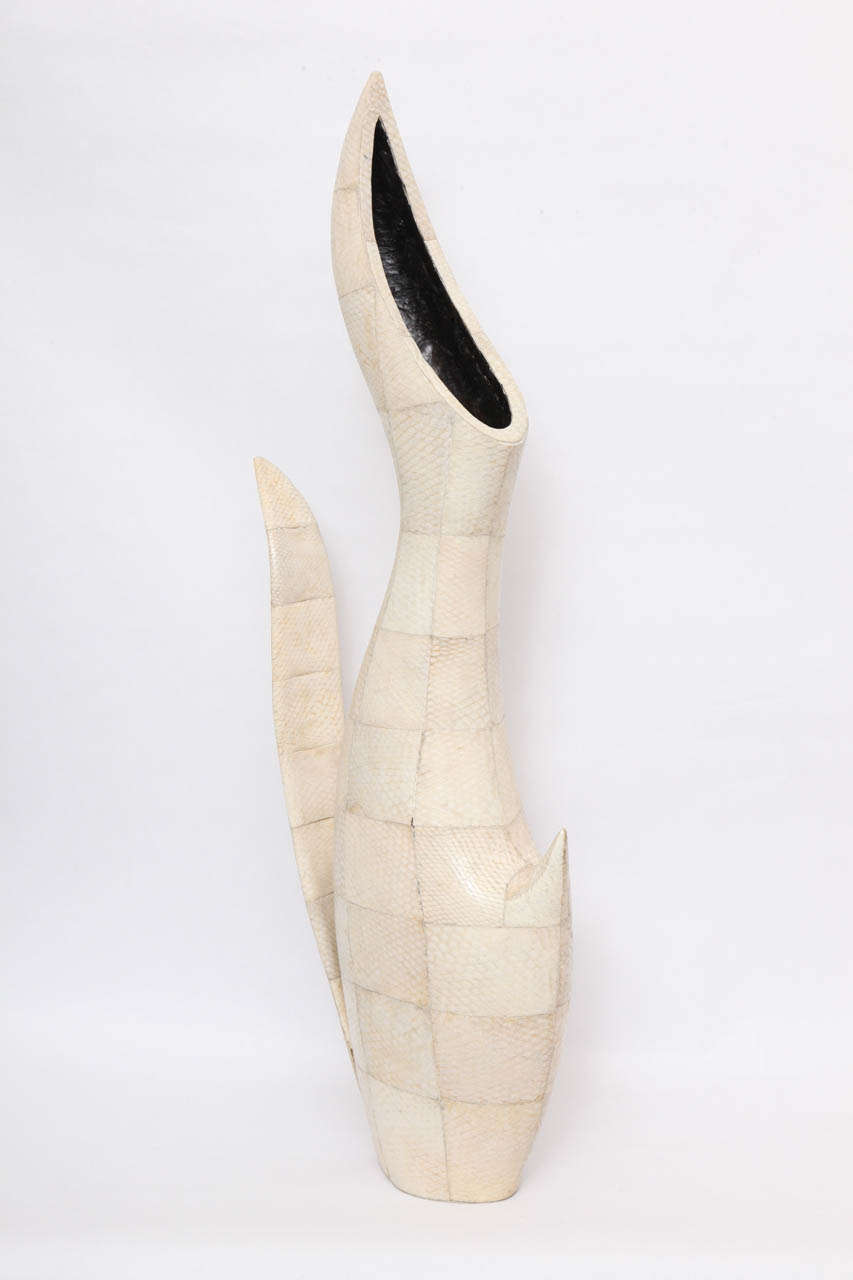 1970s Sculptural Vase of Snakeskin In Excellent Condition For Sale In New York, NY