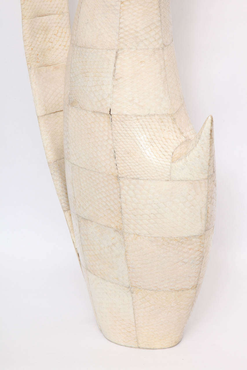Late 20th Century 1970s Sculptural Vase of Snakeskin For Sale