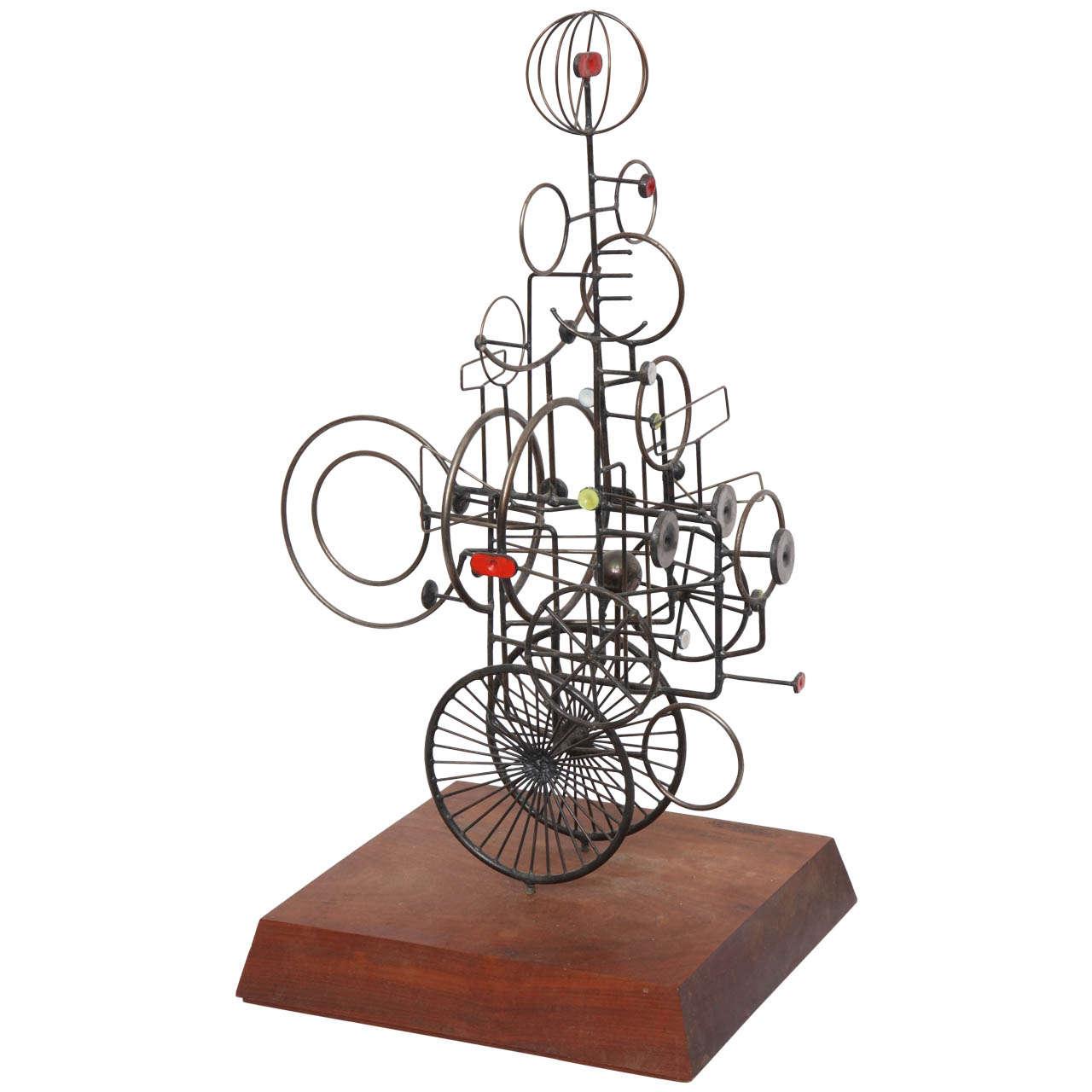 Modernist Metal and Enamel Sculpture Signed J.A. Burlini, 1971