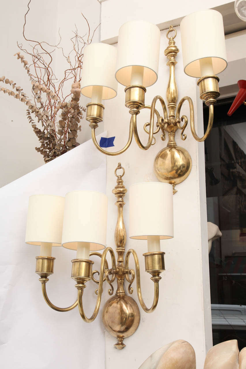 A Pair Of 1920 s Classical Modern Brass Wall Sconces at 1stdibs