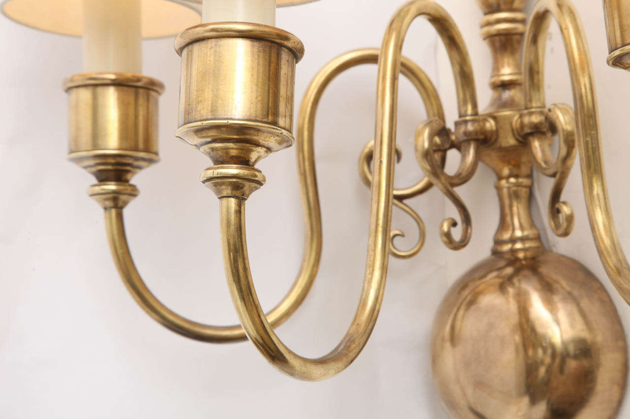 Modern Brass Wall Sconces : Pair of 1920s Classical Modern Brass Wall Sconces For Sale at 1stdibs