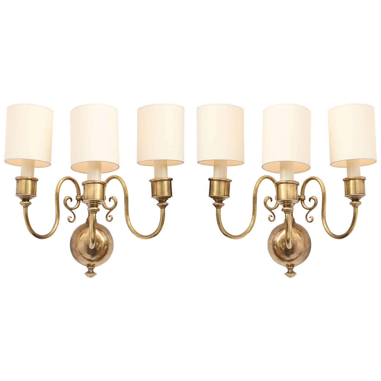 Modern Brass Wall Sconces : A Pair Of 1920 s Classical Modern Brass Wall Sconces at 1stdibs