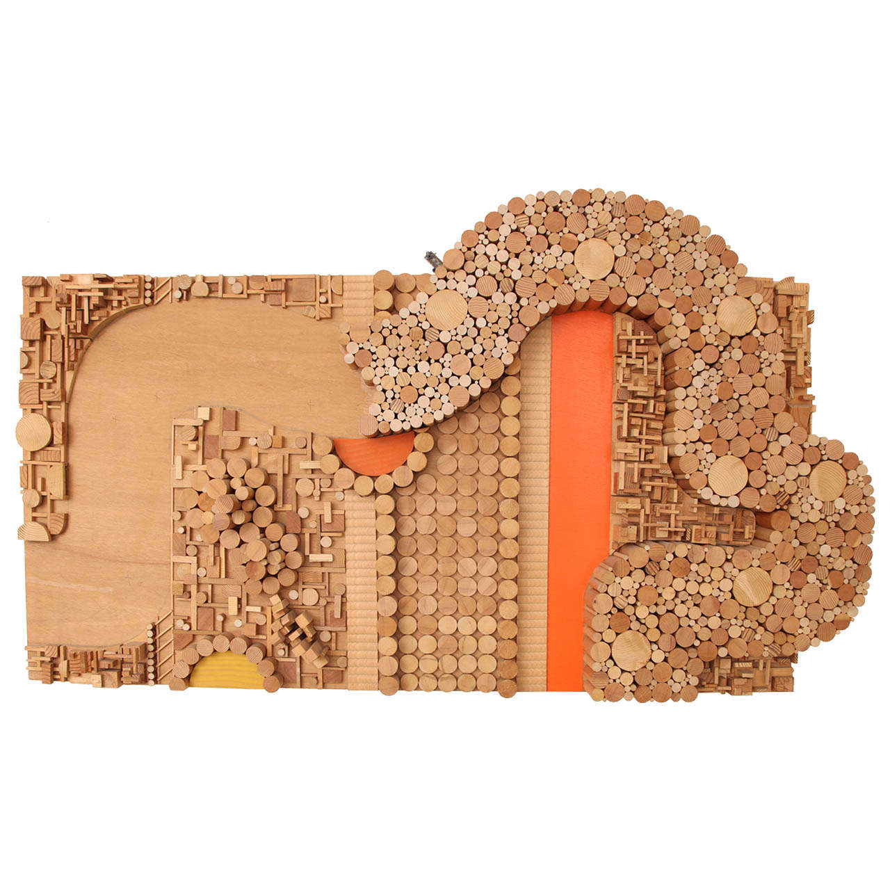1970s Architectonic Wood Wall Sculpture