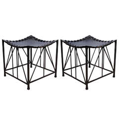 Contemporary Bronze and Leather Stool