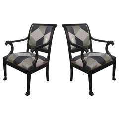 Black Bergeres with Black and Silver Upholstery