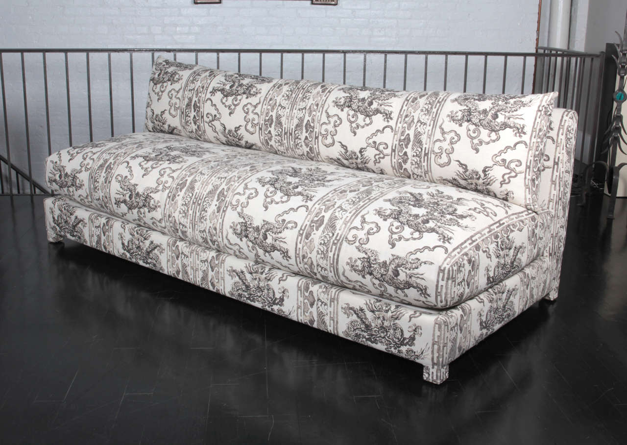 antony todd armless sofa upholstered in jim thompson handblocked fabric 2
