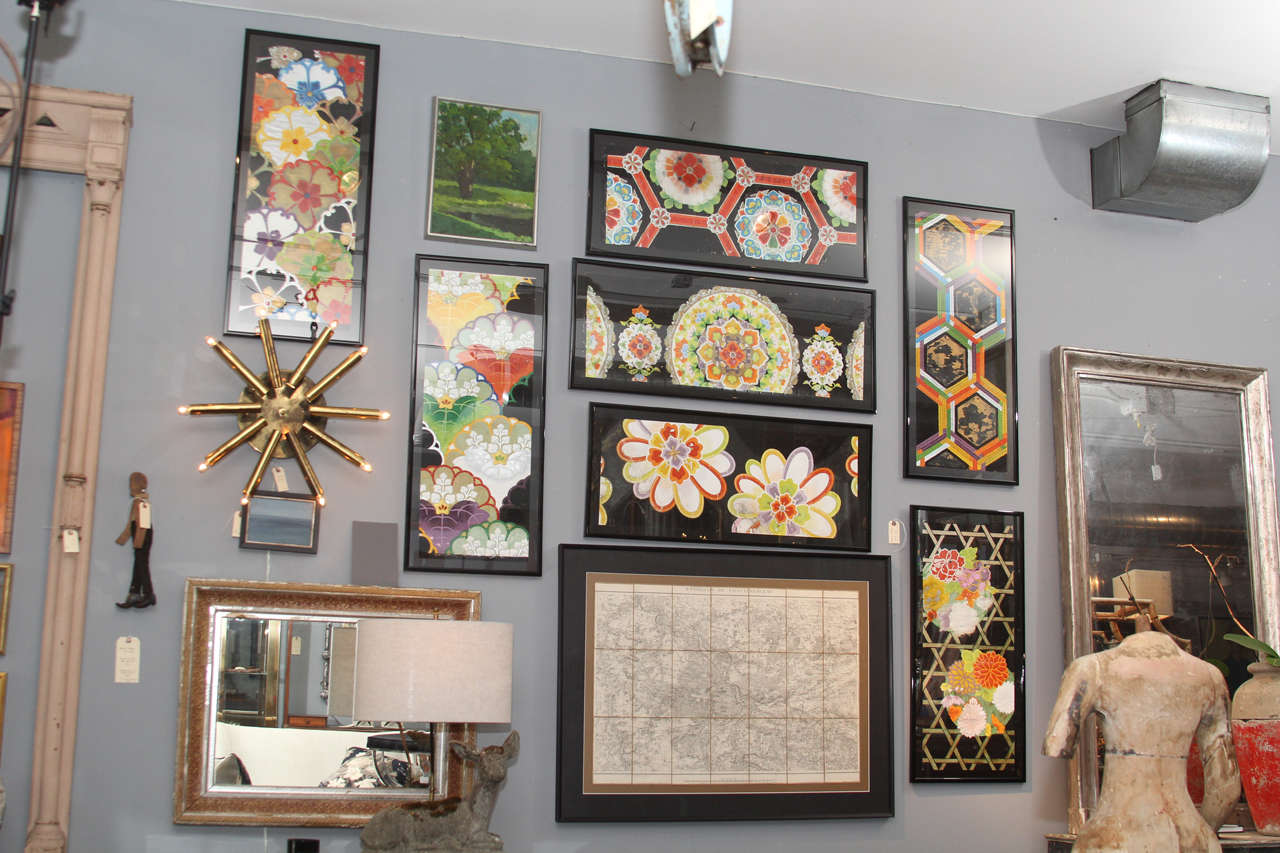 Beautifully detailed Japanese fabric pattern samples for kimonos and screens on paper, hand-painted with many details. The patina and colors in person are beautiful and very detailed. They are custom framed to hang horizontally or vertically and are