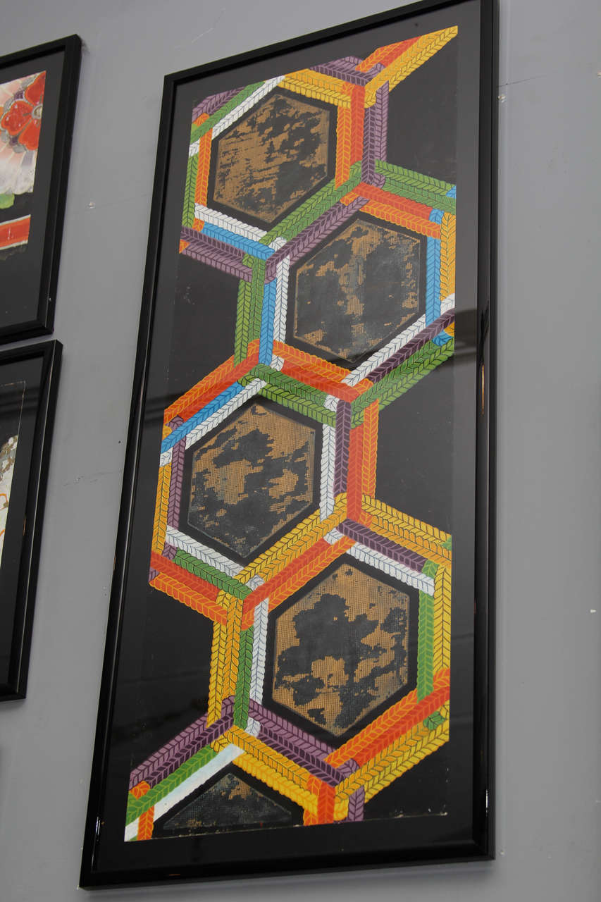 Early 20th Century Group of Framed Japanese Design Samples For Sale