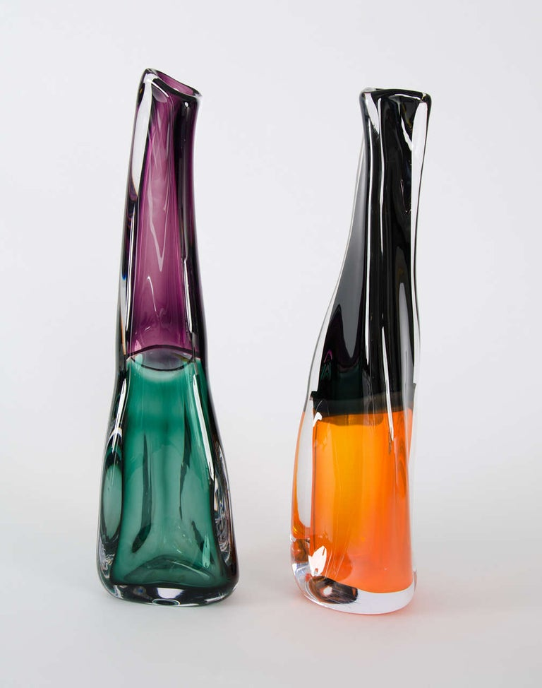 Modern Sommercalmo 83, a Unique glass Vase in clear, black & orange by Vic Bamforth For Sale