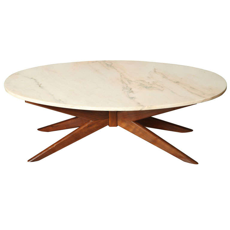 Marble And Wood Coffee Table In The Style Of Vladimir Kagan At 1stdibs