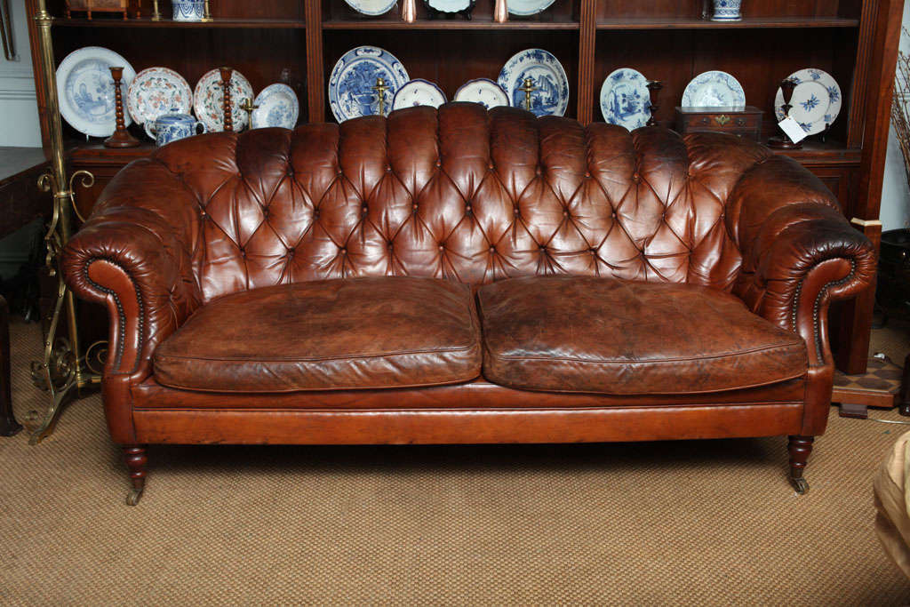 Marvelous English Edwardian Sofa In Original Leather Upholstery, Having Rolled And  Tufted Arms And Back,