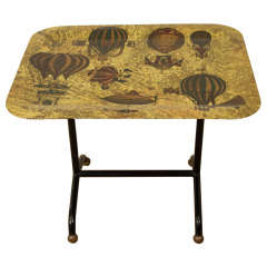 Piero Fornasetti Air Balloon Decorated Small Folding Table