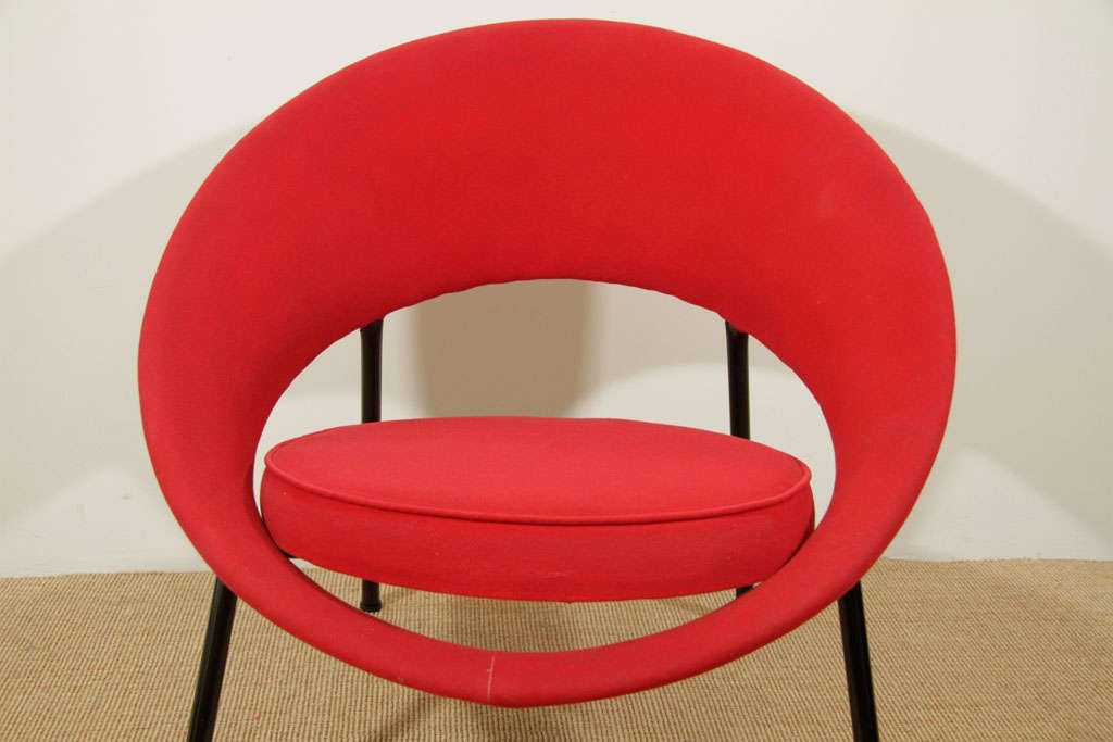 A Red Saturne Chair By Genevieve Dangles And Christian