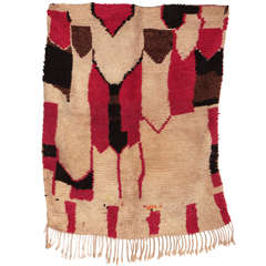 Primitive and Modernist Wool Berber Rug from Azilal