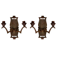Pair of 1940s Sconces in the Style of Jules Leleu
