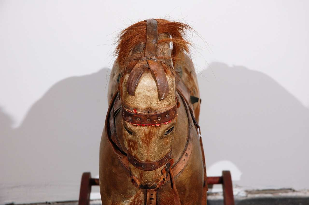 Continental Leather And Horse Hair Rocking Horse At 1stdibs