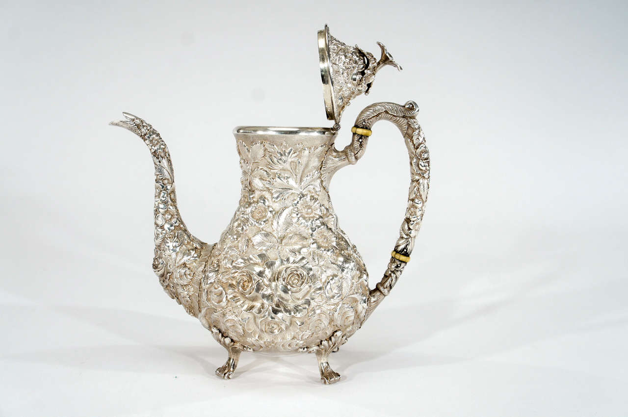 3 Piece Steiff Repousse Sterling Silver Coffee Service At