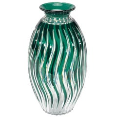 Monumental Val St. Lambert Hand Blown Crystal Art Deco Green Cut to Clear Vase