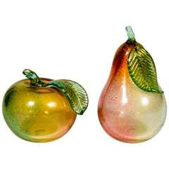 Pair of Hand Blown Murano Glass Pear and Peach with 24K Gold Flecks