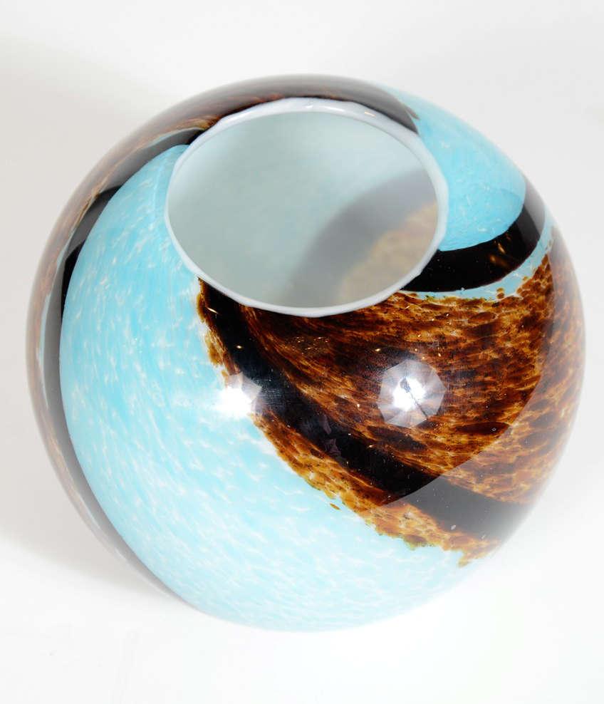Mid Century Spiral Hand Blown Murano Glass Round Vase At 1stdibs