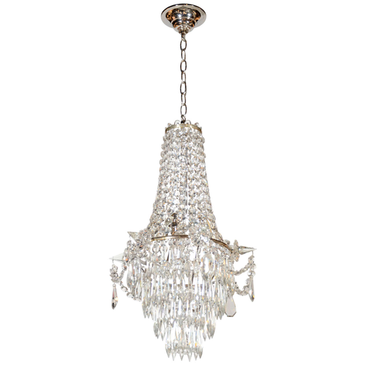 Brilliant Fine Cut Crystal French Empire Chandelier At 1stdibs
