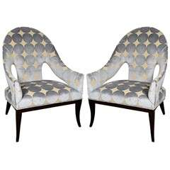 Pair of Modernist Spoon Back Arm Chairs in Gauffraged Velvet