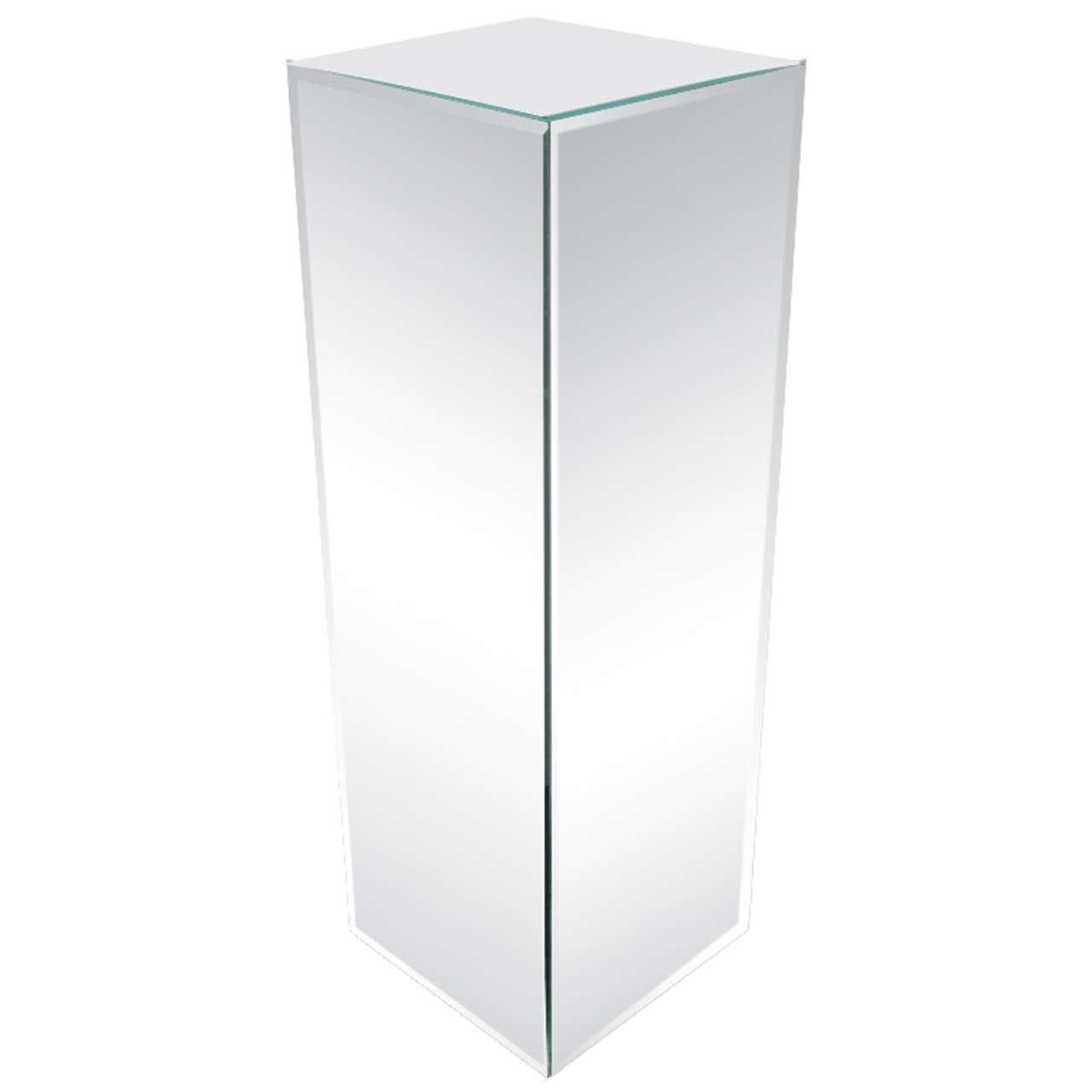 Modernist Hand Beveled Mirrored Pedestal For