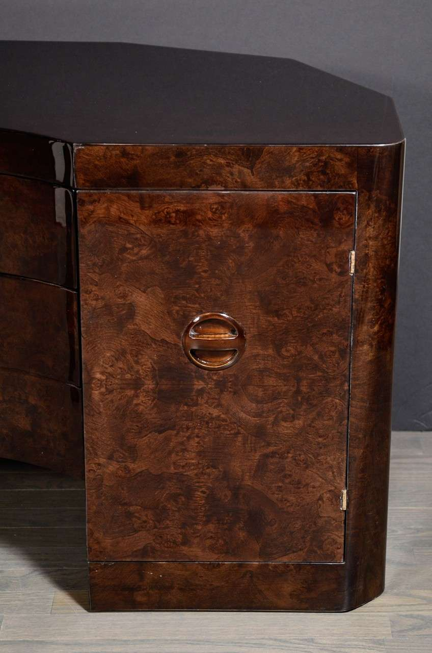 Glamorous Art Deco Vanity In Bookmatched Walnut With Wrap