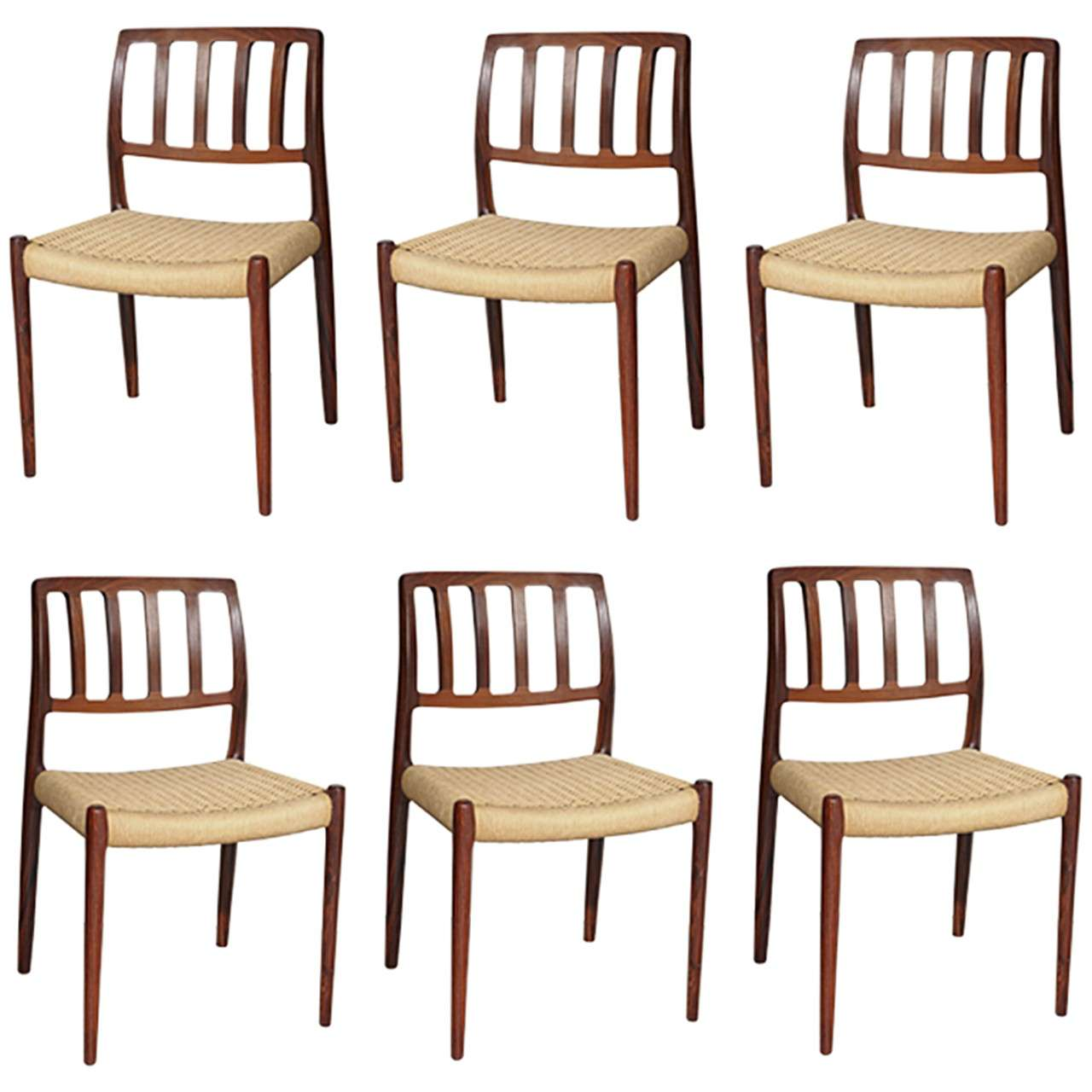 Set of 6 no 83 danish vintage rosewood dining chairs by for Danish furniture