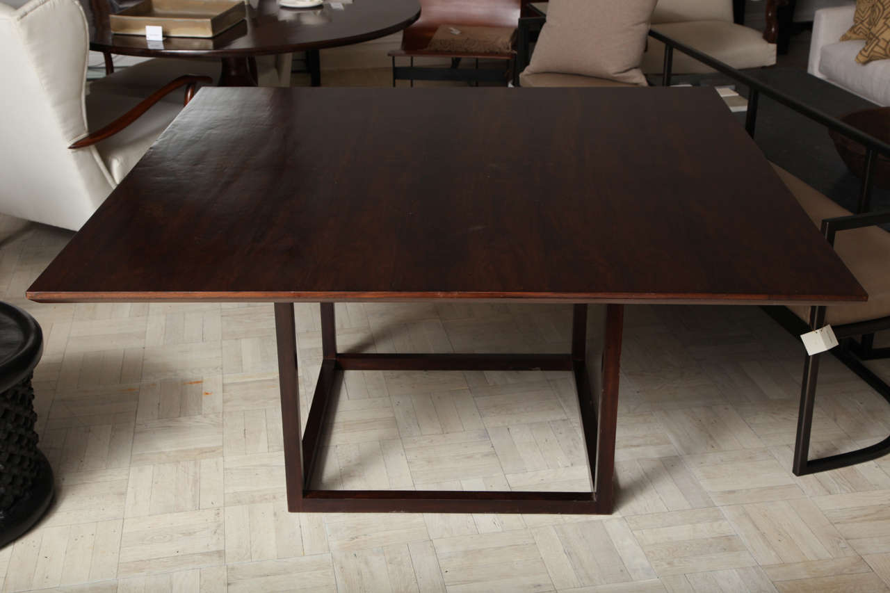 Lucca & Co, made to order, walnut dining table No. 8 edge, and solid walnut cube base  Stock no: LT0007.