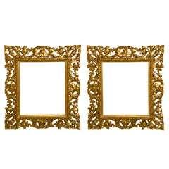 Pair of Italian Carved Gilt Wood Frames