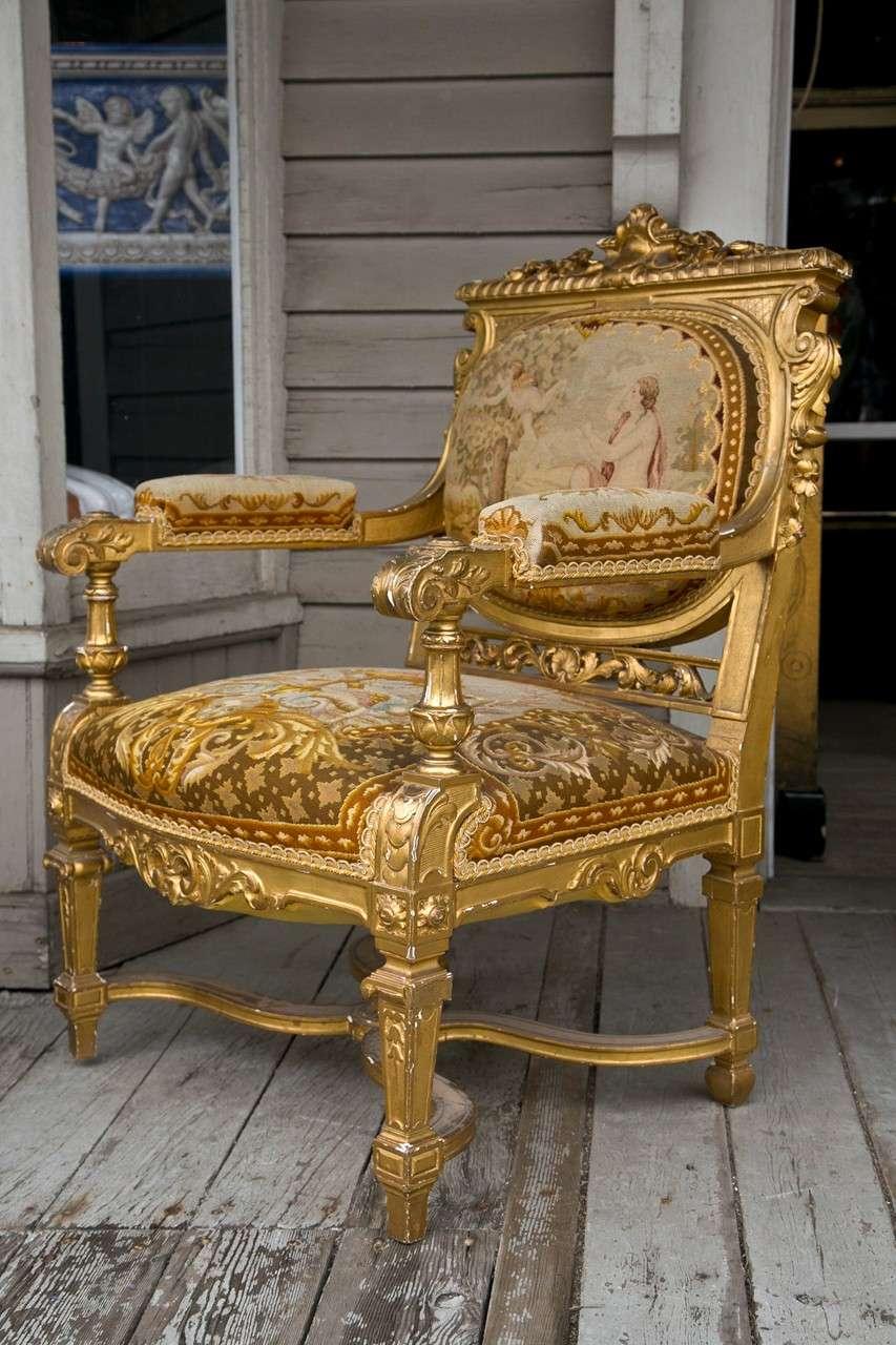louis xvi style 3 piece gilded salon set at 1stdibs. Black Bedroom Furniture Sets. Home Design Ideas